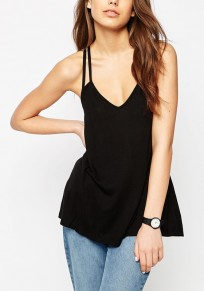 Black Plain Condole Belt Cut Out Plunging Neckline Vest