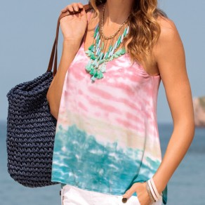 Pink Color Block Condole Belt Round Neck Loose Casual Vest