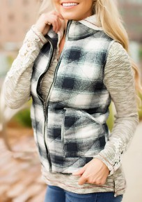 White Plaid Print Pockets Zipper Band Collar Normal Vest