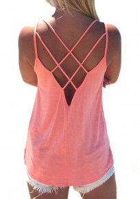 Pink Plain Condole Belt Cut Out Vest
