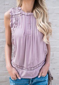 Purple Plain Hollow-out Ruffle Single Breasted Round Neck Fashion Vest