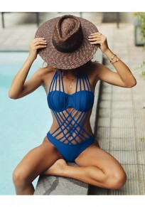 Blue Cut Out Belt Halter Neck Open Back Dacron Swimwear
