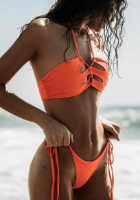 Orange Plain Condole Belt 2-in-1 Polyester Swimwear