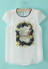White Embroidery Round Neck Short Sleeve Chiffon T-Shirt