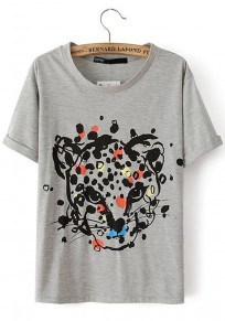Grey Animal Print Round Neck Cotton Blend T-Shirt