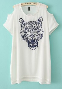 White Animal Print Short Sleeve Loose T-Shirt
