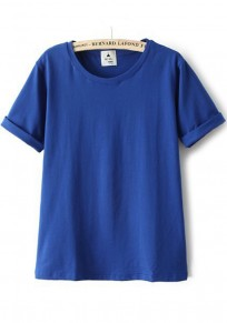 Blue Plain Round Neck Short Sleeve T-Shirt