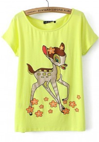 Yellow Fawn Print Round Neck Acrylic T-Shirt