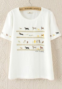 White Dog Print Round Neck Short Sleeve T-Shirt