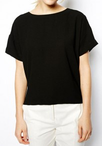 Black Patchwork Hollow-out Round Neck Cotton T-Shirt