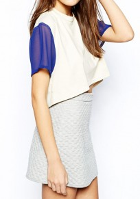 Blue-White Patchwork Lace Round Neck Dacron T-Shirt