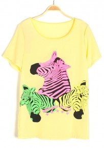 Yellow Zebra Print Round Neck Chiffon T-Shirt