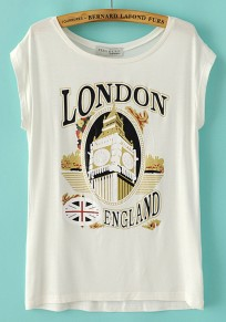 White Print Loose Short Sleeve T-Shirt