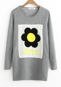 Grey Flowers Round Neck Thick Cotton Blend T-Shirt