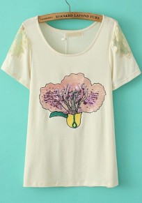Beige Cabbage Print Sequin Short Sleeve T-Shirt