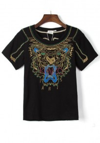 Black Tiger Embroidery T-Shirt