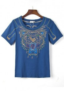 Blue Tiger Embroidery T-Shirt