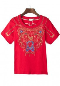 Red Tiger Embroidery T-Shirt