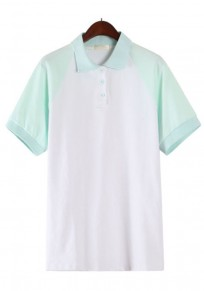 Green Patchwork Buttons Polo Neck T-Shirt