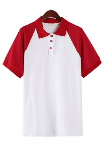 Red Patchwork Buttons Polo Neck T-Shirt