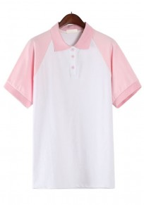 Pink Patchwork Buttons Polo Neck T-Shirt