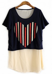 Black Color Block Heart Print Collarless Cotton T-shirt