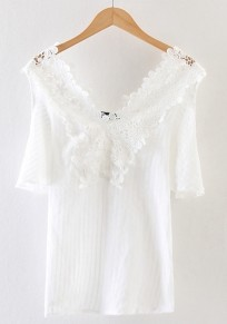 White Plain Lace Short Sleeve T-Shirt