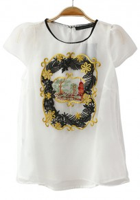 White Floral Embroidery Round Neck Chiffon T-shirt