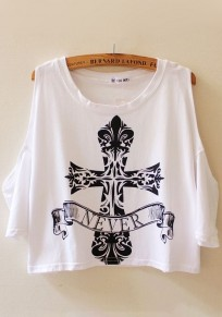 White Print Short Sleeve T-Shirt