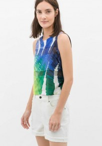 Multicolor Colorful Print Sleeveless T-Shirt
