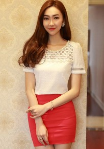 White Patchwork Pearl Hollow-out Chiffon T-Shirt