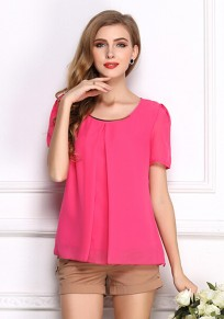 Rose-Carmine Plain Draped Round Neck Short Sleeve T-Shirt