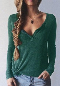 Global Green Plain V-neck Long Sleeve Slim Sexy Casual T-Shirt