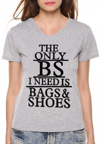 Grey Letter Pattern Bags Shoes Round Neck Short Sleeve Casual T-Shirt