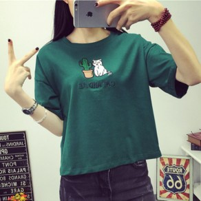 Green Cat Print Round Neck Short Sleeve Cotton Loose Cute T-Shirt