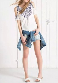 Blue-White Floral Print Strapless Vintage Round Neck Short Sleeve T-Shirt