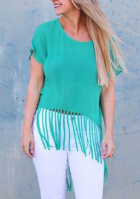 Green Patchwork Irregular Tassel Round Neck Short Sleeve T-Shirt