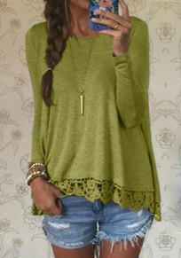Green Plain Lace Round Neck Long Sleeve Loose T-Shirt