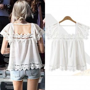 White Patchwork Hollow-out Lace Pleated Square Neck Cute T-Shirt