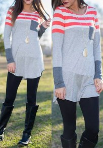 Grey Striped Print Pockets Round Neck Long Sleeve T-Shirt