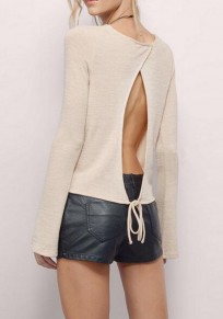 Apricot Plain Cut Out Round Neck Long Sleeve Casual T-Shirt