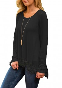 Black Patchwork Irregular Lace Round Neck Loose Cotton T-Shirt