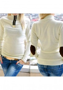 White Patchwork Fornt Zipper Band Collar Casual Long Sleeve T-Shirt