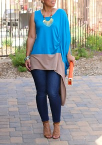 Blue And Grey Splicing Irregular Asymmetrical Sleeve Ruched Oversized Casual T-Shirt