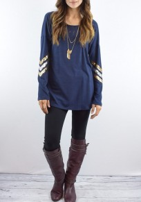 Blue Patchwork Sequin Round Neck Long Sleeve Casual T-Shirt