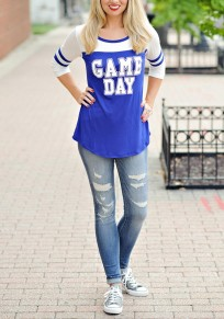 Blue And White Striped Splicing GAME DAY Print Casual Teens T-Shirt
