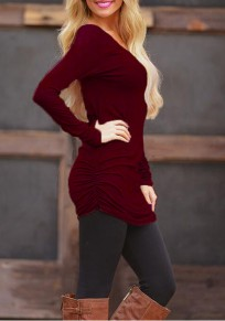 Burgundy Plain Pleated Irregular All-match Solid Long Sleeve Casual T-Shirt