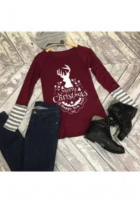 Burgundy Patchwork Striped Merry Christmas Deer Print Round Neck Long Sleeve T-Shirt