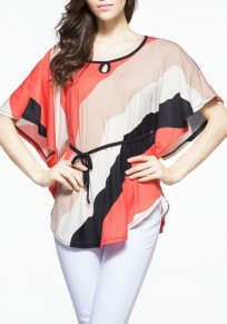 Nacarat Color Block Irregular Belt Dolman Sleeve Plus Size Striped Casual T-Shirt