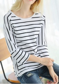 White Striped Round Neck Loose Normal Fashion T-Shirt